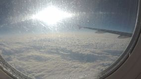Passenger plane flying above clouds before accident. Air transportation services. Stock footage stock video footage