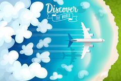 Passenger plane flying above clouds and tropical beach, travel poster. Vector illustration royalty free illustration