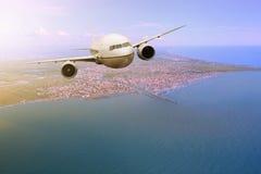 Passenger  plane flying from Fiumicino – Leonardo da Vinci Int Royalty Free Stock Image