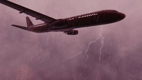 Passenger Plane flying over the Pacific ocean at storm. 3D Rendering stock illustration