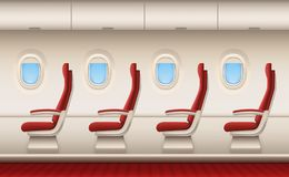 Passenger plane interior. Aircraft cabin with white closeup windows portholes plane inside comfort chairs vector. Realistic background. Illustration of airplane royalty free illustration