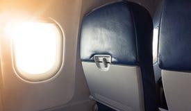 Passenger plane interior fragment. Main cabin Stock Images