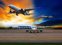 Passenger plane in international airport use for air transport a Royalty Free Stock Photography