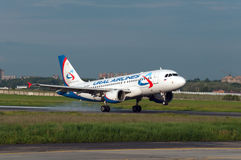 Passenger plane lands in Rostov-on-Don. Airplane landing on the `22` strip, Rostov-on-Don, Russia, May 24, 2016 Royalty Free Stock Images