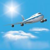 Passenger plane. Large passenger plane flying in the blue sky. Vector illustration Royalty Free Stock Images