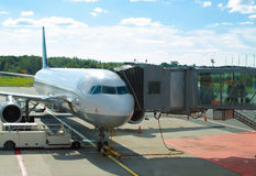 Passenger plane maintenance. Royalty Free Stock Photography