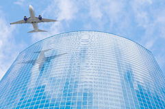 Passenger plane. Passenger plane moves to the airport Royalty Free Stock Photos