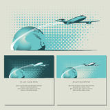 Passenger plane and planet Royalty Free Stock Photo