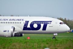 Free Passenger Plane PLL LOT Boeing Dreamliner Is Flying Up From Runway Of Airport Chopin In Warsaw Stock Photo - 114508110