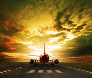 Passenger plane ready to take off on airport runways use for tra Stock Images