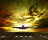 Passenger plane ready to take off on airport runways use for tra Stock Photos