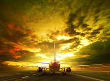 Passenger plane ready to take off on airport runways use for tra Stock Image