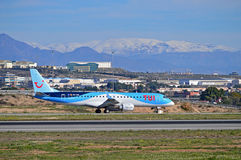 Passenger Plane With Snow Stock Images
