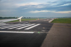 The passenger plane stopped on the runway Stock Images