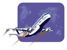 Passenger plane taking off on the background of abstract world map in retro pop art style. The concept of travel and Royalty Free Stock Image