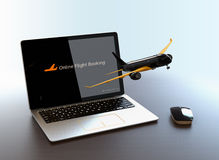 Passenger plane taking off from laptop computer. Online flight booking concept. 3D rendering image Stock Images