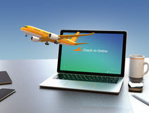Passenger plane taking off from laptop computer. Online flight check in concept. 3D rendering image Stock Photo