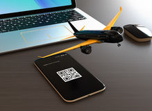 Passenger plane taking off from smart phone. Mobile airlines check in concept. 3D rendering image Stock Photo