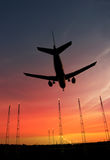 Passenger plane about to land Royalty Free Stock Photos