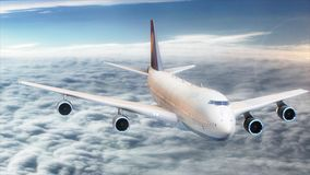 3d illustration passenger plane flying in the sky above the clouds. The passenger plane of white color with a blue tail flies against a background of clouds and Royalty Free Stock Images