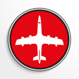 A passenger plane. White vector icon on a red background. Royalty Free Stock Photography