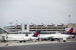 Passenger planes at airport Royalty Free Stock Image
