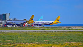 Passenger Planes By The Sea Stock Image
