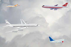 Passenger planes in the sky Royalty Free Stock Image
