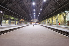 Passenger platform at the railway station Stock Photos
