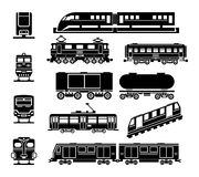 Passenger and public rail city transport black Stock Photos