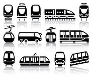 Passenger and public transport black icons. With reflection, vector illustrations Royalty Free Stock Image