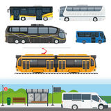 Passenger public and travel transport vector icons Royalty Free Stock Image