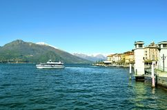 Passenger rapid ship departure from Bellagio. Royalty Free Stock Images