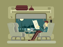 Passenger rides on train Royalty Free Stock Image