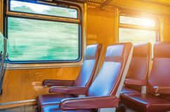 Passenger seat train, concept trip movement, the effect of movement outside the window. Stock Photography