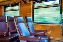 Passenger seat train, concept trip movement, the effect of movement outside the window. Royalty Free Stock Image