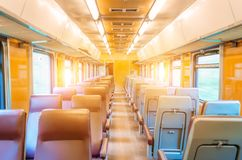 Passenger seat train, concept trip movement, the effect of movement outside the window. Royalty Free Stock Images