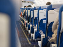 Passenger seats. Inside an airplane Stock Image