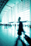 Passenger in the Shanghai Airport. Shanghai airport interior passenger flow scene Royalty Free Stock Images