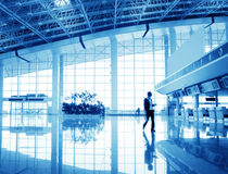Passenger in the shanghai pudong airport. Interior of the airport stock photo