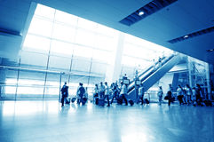 Passenger in the shanghai pudong airport. Interior of the airport stock photos
