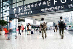 Passenger in the shanghai pudong airport stock photos