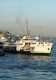 Passenger Ship. A small passenger ship sailing from Europe to Asia royalty free stock images