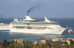 Passenger Ship. At Rhodes. Castle walls in foreground stock image
