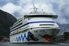Passenger Ship Aida Aura berthed in the port of Kotor-Montenegro Stock Photo