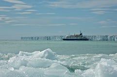Passenger Ship Anchoring Brasvellbreen at Nordaustlandet, Svalbard Stock Photo