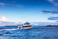 Passenger ship in the bay. Morning royalty free stock images