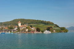 Passenger ship at the berth of Spiez. Royalty Free Stock Image