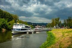 Passenger ship on the Danube in Melk. Passenger ship in a billabong of the Danube in Melk royalty free stock photo