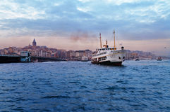 Passenger ship in Bosporus near Galata bridge Royalty Free Stock Photography
